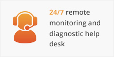 24/7 remote monitoring and diagnostic help desk